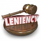 foto of forgiven  - Leniency wrod in red 3d letters by a judge - JPG