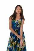 picture of petition  - Beautiful petite Eurasian woman in a blue and yellow print dress - JPG