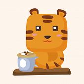 picture of cute tiger  - animal tiger having afternoon tea theme elements - JPG