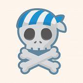 image of skull crossbones flag  - pirate skull theme elements - JPG