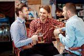stock photo of casual wear  - Friends in bar - JPG