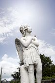 stock photo of graveyard  - angel statue in a kilkenny graveyard looking up to the heavens - JPG