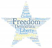 pic of freedom speech  - Freedom star shaped word cloud on a white background - JPG