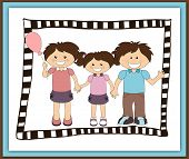 picture of nonverbal  - Illustration of cartoon happy family in scrapbook style - JPG