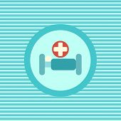 stock photo of flat-bed  - Hospital bed color flat icon vector graphic illustration - JPG
