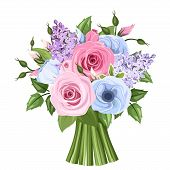 stock photo of blue rose  - Vector bouquet of pink - JPG
