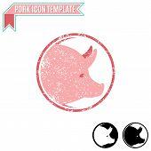 stock photo of pig head  - Pig head silhouette vector design template - JPG