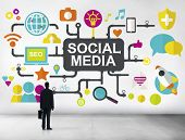 stock photo of social-security  - Social Media Social Networking Connection Global Concept - JPG