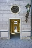 image of fornication  - Corridor passage at Munich street with lantern and round window - JPG
