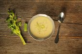 pic of celery  - Top view of a bowl of celery soup - JPG