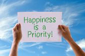 picture of priorities  - Happiness is a Priority card with sky background - JPG