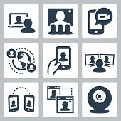 picture of video chat  - Video conference and communication related vector icon set - JPG