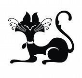 foto of black cat  - Cat illustration  - JPG