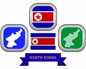 foto of rogue  - map and flag of North Korea symbol on a white background - JPG
