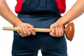 picture of plunger  - Plumber in working clothes with a plunger - JPG