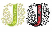 pic of letter j  - capital letter J from pattern isolated on white - JPG