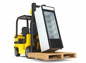 picture of lift truck  - Forklift truck with Fridge Drink and pallet on a white background - JPG