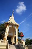 picture of crematory  - crematory or pyre against blue sky in Thai temple - JPG