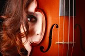 foto of violin  - Beautiful young girl with violin - JPG