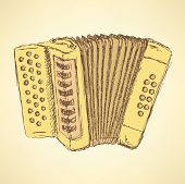 picture of accordion  - Sketch accordion music instrument in vintage style vector - JPG