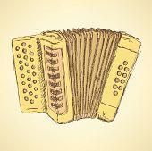 foto of accordion  - Sketch accordion music instrument in vintage style vector - JPG
