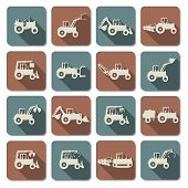 image of dozer  - Tractor flat Icons including farm tractors with different equipment - JPG