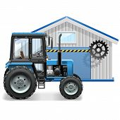 pic of tractor  - Tractor repair concept with farm tractor and tractor workshop - JPG