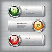 foto of traffic sign  - Set of horizontal metallic banners with round shiny buttons like a traffic lights on a metal textured background for infographics business design reports step presentation workflow layout website or app - JPG