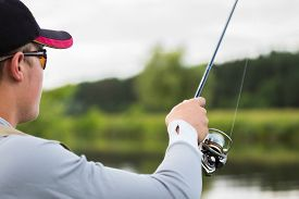 picture of fly rod  - Fishing in river - JPG