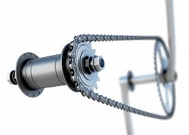 foto of pedal  - Bicycle chain with pedals on a white - JPG