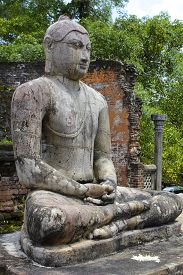 stock photo of quadrangles  - Ancient Buddha in Sri Lanka - JPG