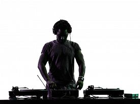 picture of disc jockey  - one disc jockey man in silhouette on white background - JPG