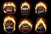 Vector fire labels set poster