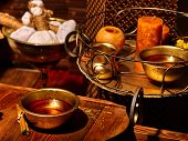 stock photo of panchakarma  - Luxury ayurvedic spa massage still life with candles - JPG