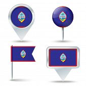 stock photo of guam  - Map pins with flag of Guam  - JPG