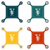 picture of yen  - Set of four flat simple icons with screws and yen symbol - JPG
