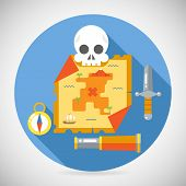 stock photo of spyglass  - Pirate Treasure Adventure Game RPG Map Action Knife Gagger Spyglass Skull Compass Icon Symbol Wood Table Background Concept Flat Vector Illustration - JPG