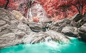 stock photo of rainforest  - Klonglan Waterfall is waterfall in Kampangphet province asia southeast asia Thailand rainforest nature - JPG