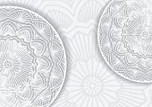 foto of gamma  - Abstract vector lace design with decorative mandala and copyspace in popular gray and white gamma - JPG