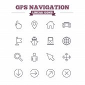 stock photo of petrol  - GPS navigation linear icons set - JPG