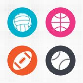 Постер, плакат: Sport balls Volleyball Basketball Baseball