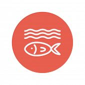 stock photo of pisces horoscope icon  - Fish under water thin line icon for web and mobile minimalistic flat design - JPG