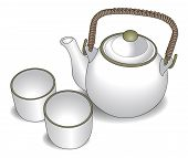 picture of teapot  - elegant ceramic teapot with bamboo handle and 2 ceramic cups - JPG