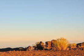stock photo of sahara desert  - Sunset Desert Landscape in Tenerife Canary Island Spain - JPG