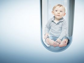 image of tubes  - caucasian baby in test tube 3d - JPG