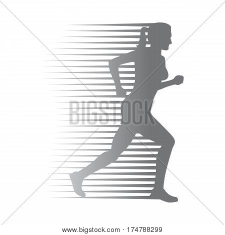 poster of Silhouette of isolated running woman on white background. Fast female person run on high speed. Sport lifestyle colourless vector illustration. Motion movement in cartoon style flat design
