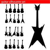 picture of stratocaster  - vector guitar silhouette set - JPG