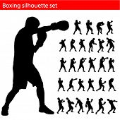 Постер, плакат: вектор бокс силуэт set