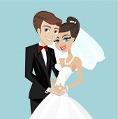 foto of wedding couple  - wedding couple vector - JPG