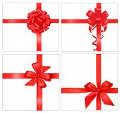 stock photo of ribbon bow  - Collection of red gift bows with ribbons - JPG